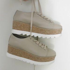 New lightly worn beige platform sneakers!
